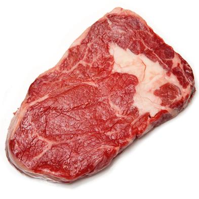 Scottish North Highland Rib Eye steak isolated on a white studio background.